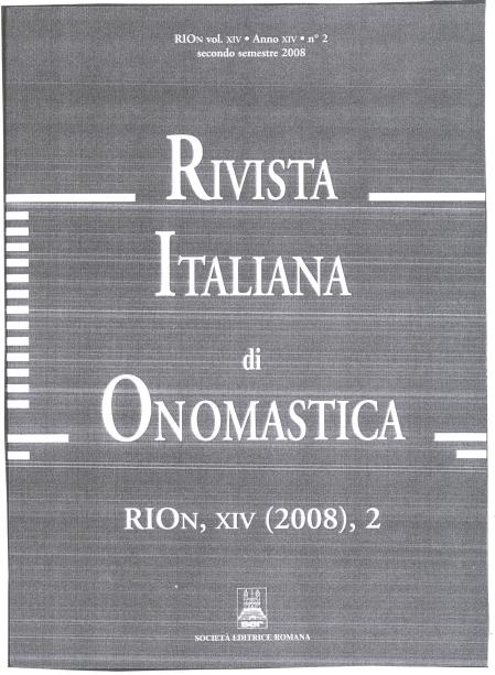 Rivista Italiana Onomastica (2)