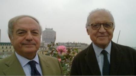 Colombo Clerici con Arch. Alberico Barbiano di Belgiojoso, sullo sfondo la Torre Velasca nello skyline di Milano