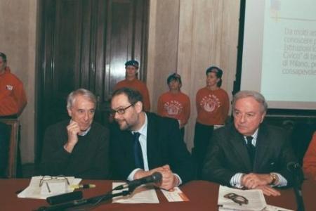da sin. Giuliano Pisapia, Marco Granelli, Achille Colombo Clerici