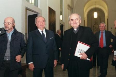 Achille Colombo Clerici presidente dell'Istituto IEA con mons. Franco Buzzi, Prefetto della Ambrosiana