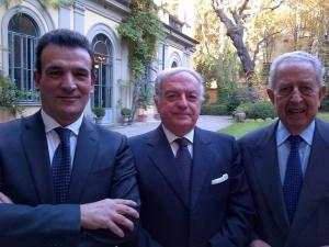 Achille Colombo Clerici tra il direttore della Banca d'Italia Milano Giuseppe Sopranzetti a sin. ed Alfio Noto, già Direttore della stessa sede Bankitalia