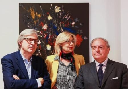 Josine Dupont Pareto Spinola con Vittorio Sgarbi e Achille Colombo Clerici