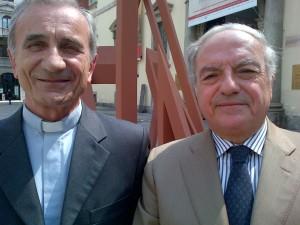 Achille Colombo Clerici con il viceprefetto dell'Ambrosiana Mons. Pierfrancesco Fumagalli