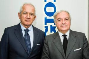 Achille Colombo Clerici con il direttore de Il Giorno Giuliano Molossi